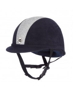 Charles Owen YR8 Sparkly Navy/Shiny Silver Riding Hat