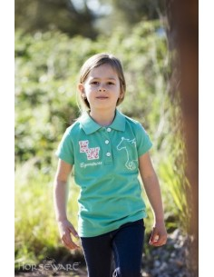 Horseware Kids Pique Polo Top Green