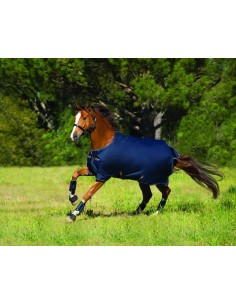 Horseware Amigo® Bravo 12 100g Turnout Lite Rug Navy Gold Side