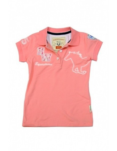 Horseware Kids Pique Polo Top peach