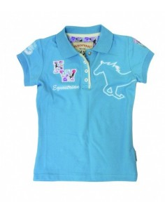 Horseware Kids Pique Polo Top Sky Blue