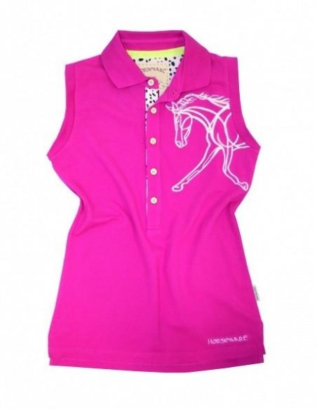 Horseware  Flamboro Sleeveless Polo Top Pink Plain