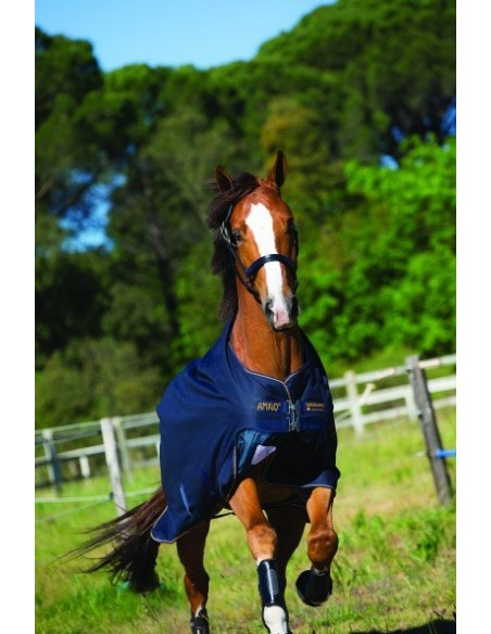 Horseware Amigo® Bravo 12 100g Turnout Lite Rug Navy Gold Side