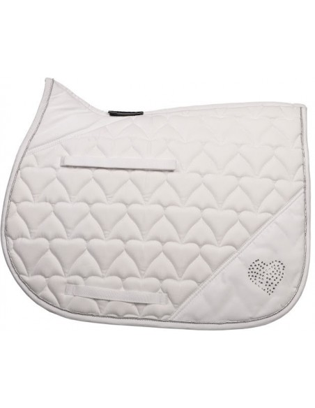 HySPEED Deluxe Saddle Pad with Cord Binding White heart full
