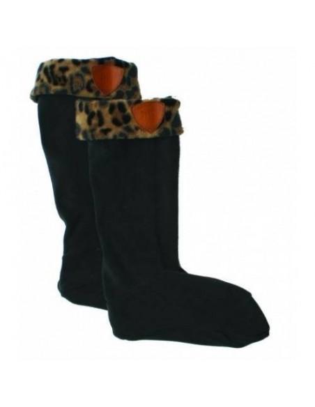 Horseware Fleece Welly Cosy Black/Leopard