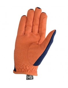 Hy5 Everyday Two Tone Riding Gloves navy orange back