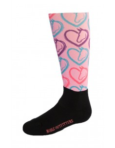 Noble Outfitters Childrens Printed Peddies - Over the Calf Chevron hearts