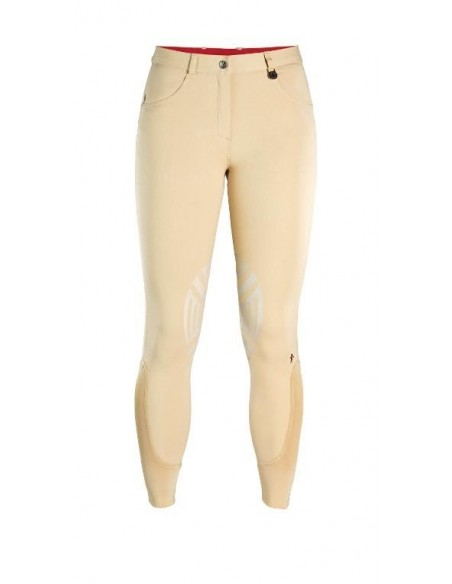Caldene Derby Low Waist Silicone Knee Ladies Breeches beige