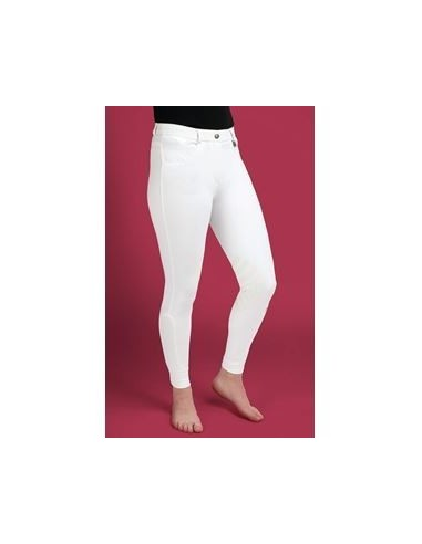 Caldene Derby Low Waist Silicone Knee Ladies Breeches white