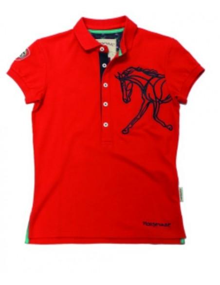 Horseware Ladies Flamboro Polo Shirt red plain