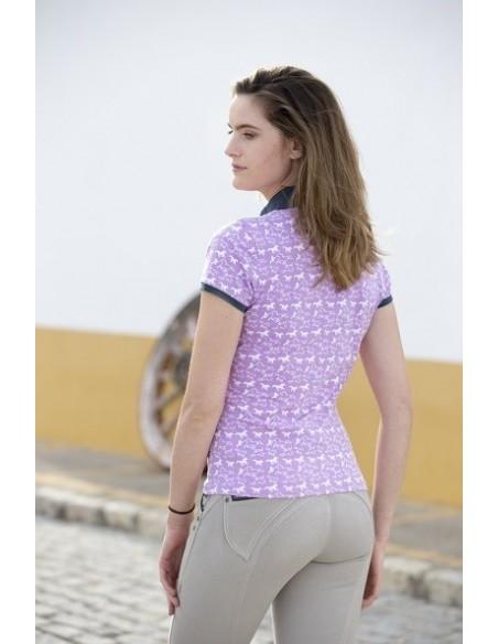 Horseware Ladies Ashlinn Print Polo Top Violet back