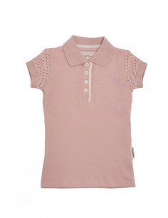 Horseware Kids Pique Polo Top pink plain